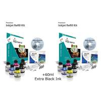 Professional Inkjet Refill Kit - 4 Color - 2 pack with 60ml Black Bonus