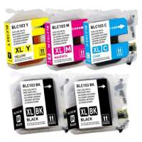 Compatible Brother LC103 ink cartridges, high yield, 5 pack