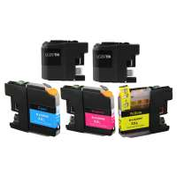 Compatible Brother LC207, LC205 ink cartridges, super high yield, 5 pack