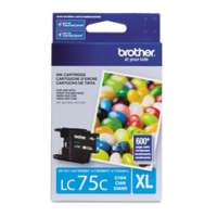 Brother LC75C original ink cartridge, high yield, cyan