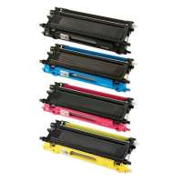 Compatible Brother TN210BK, TN210C, TN210M, TN210Y toner cartridges, 4 pack