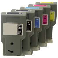 Compatible Canon PFI-207 ink cartridges, 5 pack