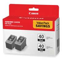 Canon PG-40 OEM ink cartridges, 2 pack