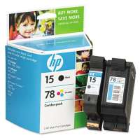 HP 15, 78, C8789FN OEM ink cartridges, 2 pack