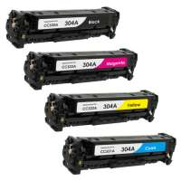 Compatible HP 304A, CC530A, CC531A, CC532A, CC533A toner cartridges, 4 pack