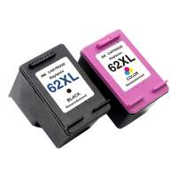 Remanufactured HP 62XL ink cartridges, 2 pack