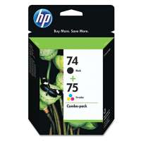 HP 74, 75, CC659FN OEM ink cartridges, 2 pack