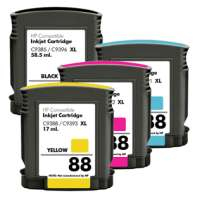 Remanufactured HP 88XL ink cartridges, high yield, 4 pack