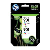 HP 901, CZ076FN OEM ink cartridges, tri-color, 2 pack