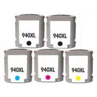 Remanufactured HP 940XL ink cartridges, high yield, 5 pack