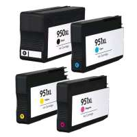 Remanufactured HP 950XL, 951XL ink cartridges, high yield, 4 pack