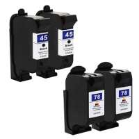 Remanufactured HP 45, 78 ink cartridges, 4 pack