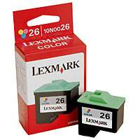 Lexmark 26, 10N0026 OEM ink cartridge, color
