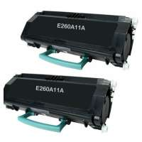 Remanufactured Lexmark E260A11A toner cartridges, 2 pack
